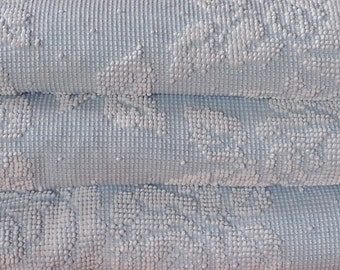 "Vintage Chenille Bedspread, Classic Blue and White Rose Pattern, Heavy Cotton, 97"" w. x 121"" l."