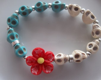 Red Flower with White and Blue Turquoise Skulls- Day of the Dead- Beaded Stretch Bracelet  (484)