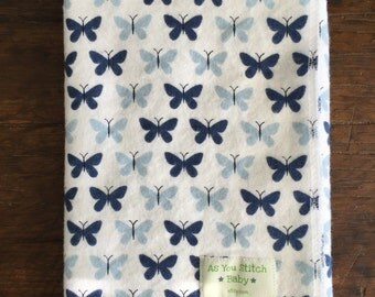 "Flannel Receiving Blanket. Extra Large for Swaddling - 40""x40"" Butterflies"