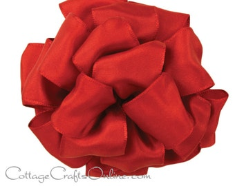 """Wired Ribbon, 1 1/2"""" wide, Ruby Red Taffeta - TEN YARD ROLL - Offray """"Biarritz"""" Christmas, Valentine Craft Wire Edged Ribbon"""