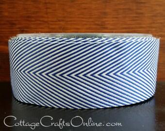 "Navy Blue Chevron Twill Tape, 1 1/2"" Wide, Striped Ribbon, THREE YARDS- May Arts, Nautical, Patriotic Packaging, Craft Ribbon"