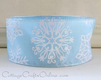 "Christmas Wired Ribbon, 2 1/2"", Pale Blue, Iridescent Snowflakes - THREE YARDS - Offray, ""Chrystal"" Hanukkah, Craft Wire Edged Ribbon"