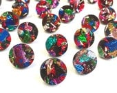 Fireworks Studs - Multicoloured Glitter - Laser Cut Round Earrings - Each To Own