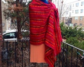 3 Yard Fabric Rebozo - Red Mexican Cambaya Shawl- Tribal Pattern Wrap - Doula and Midwife Labour Tools