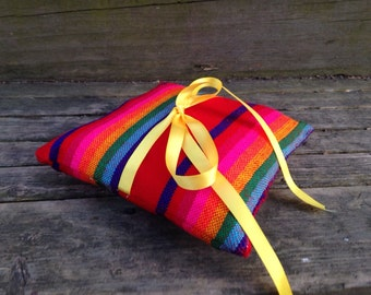Mexican Ring Bearer Pillow - Red Mini Cushion - nursery Decor - Wedding Decoration - Home Decor - Bowl Filler