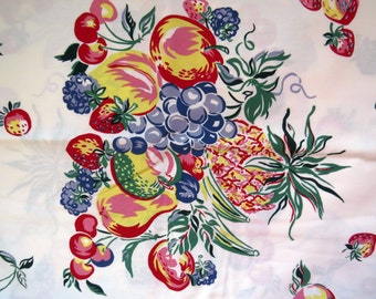 Fruit Theme Tablecloth Yesterdays Garden by Wilton Court Strawberries Cherries Apples New Unused Retro Table Linens Country Cottage