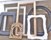 Black White And Metallic Gold Ornate Picture Frame Set Collection French Shabby Chic Luxe Glam