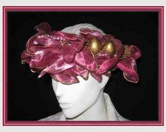 Fuchsia Floral Leafy Headband Fascinator Hat Velvet Covered Spring