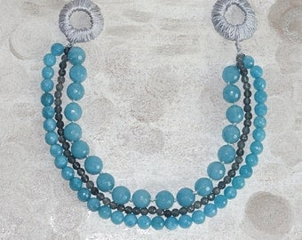 Boho beaded artisan statement necklace, Sea blue multi strand Necklace, Gorgeous baby blue real gemstone necklace, , gift for wife