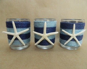 Nautical Blue and Navy Jute Wrapped Votive with Pencil Starfish