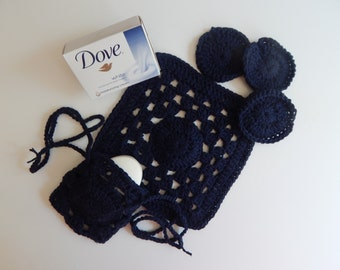 Crochet Drawstring Soap Saver, Face Pads & Washcloth - Navy Blue - Cotton Spa Bath Gift Set