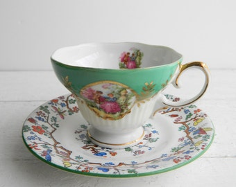 Vintage Green Mismatched Tea Cup & Saucer - Courting Couple Teacup and Spode Shanghai Plate