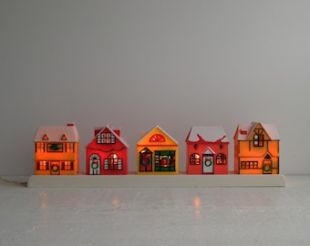 Vintage Christmas Village Scene - Lighted Mantle Holiday Decor - New Old Stock