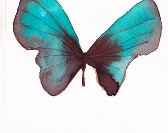 turquoise and brown butterfly original watercolour painting 7 x 5 inches