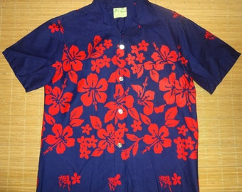 Men's Vintage 70s Ui Maikai Elvis Rockabilly Hawaiian Aloha Shirt - S - The Hana Shirt Co