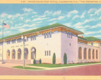 Clearwater, Florida, Post Office - Linen Postcard - Unused (K)