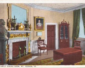 Mt. Vernon, Virginia, The Family Dining Room - Linen Postcard - Unused (AAA)