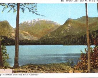 Grand Lake, Mount Craig, Baldy, Rocky Mountains, Colorado - Linen Postcard - Unused (P)