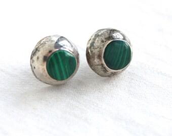 Malachite Post Earrings Round Sterling Silver Vintage Dome Dot Posts Studs Minimalist Southwestern Jewelry