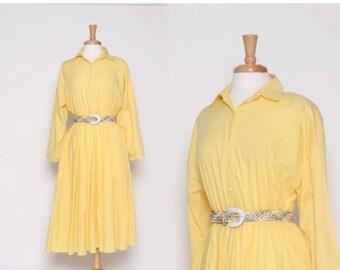 ON SALE Vintage 80s Yellow Long Sleeve Knee Length Dress / M L