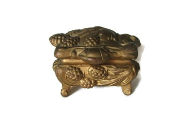 """Art Nouveau , Jewelry Casket , With Figural Grapes , Marked """"Coon"""""""