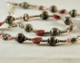 Job's Tears Necklace with Pink Rhodonite Hearts