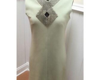 Vintage 1960s Mint Green & Silver Beaded Neckline Knit Dress- M