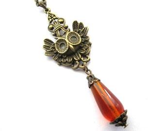 Dark amber necklace bronze owl charm jewelry orange teardrop Czech bead necklace vintage style antique bronze brass