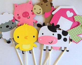 Farm Birthday Party Personalized Centerpiece Sticks - Girl Farm Party Decorations - Farm Centerpieces -  Set of 3