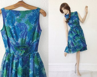 1950's Cocktail Dress, Blue Floral Party Dress, Chiffon with Flower Brooch, size Small, by Original Jr. Theme NY, Vintage