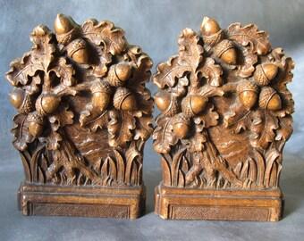 Vintage Syroco Acorn and oak leaf bookends