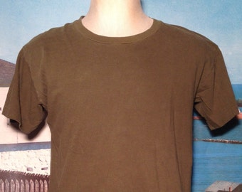 Late 80's, early 90's blank olive green t-shirt, soft, large
