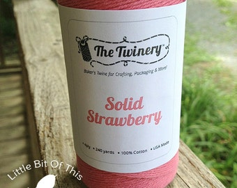 SALE • 240 Yards - Solid The Twinery Baker's Twine / String • 100% Cotton • Eco Friendly •Bakery String •  Full Roll • Strawberry