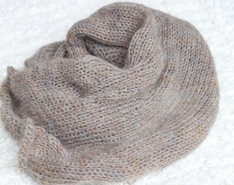 brown and blue  Shades  Mohair Knitted Wrap,Multicolored wrap