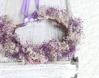 Tie Back Dried Flowers Wreath, Rustic Wedding Accessories, Baby's Breath Floral Crown