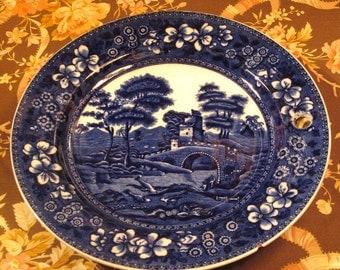 Antique Flow Blue Spode 1860's Warming Plate