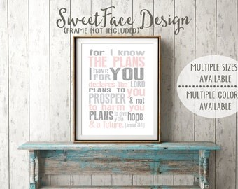 For I Know The Plans I Have For You Jeremiah 29:11 nursery art print, nursery decor, baby room, baby boy, baby girl, baby wall decor