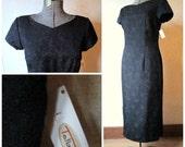 Black Lace Dress long maxi pencil dress batteau V neckline short sleeves brocade vintage 90s retro 50s 60s style Talbots women NWT size 10