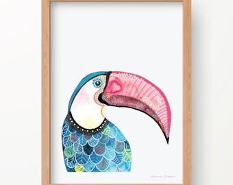 Watercolour print-Toucan