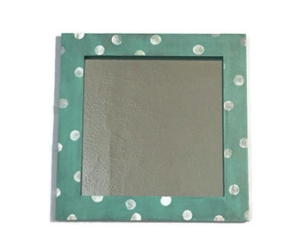 Seaglass beach mirror, shabby chic Mirror, Hanging shabby chic turquoise mirror, decorative bathroom mirror. Polka dot Teal Mirror