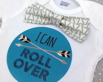 Baby Bow Tie Onesie®, Baby Bowtie Onesie®, Monthly Onesie®, Monthly Baby Stickers, Baby Month Stickers, Boy, Tribal, Arrows, Tribal Nursery