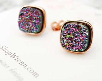 Rainbow Druzy Cushion Stud Earrings in Rose
