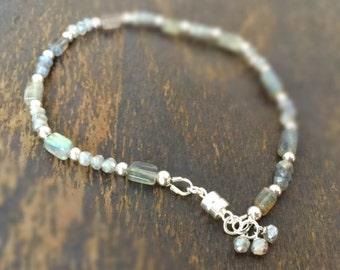 Labradorite Bracelet - Gray Jewellery - Sterling Silver Jewelry - Natural Gemstone - Grey - Dainty