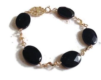 Black Bracelet - Gold Jewelry - Onyx Gemstone Jewellery - Fashion - Luxe