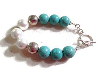Turquoise Bracelet - White Pearl Jewelry - Sterling Silver Jewellery - Gemstone - Beaded - Chunky - Mod - Funky
