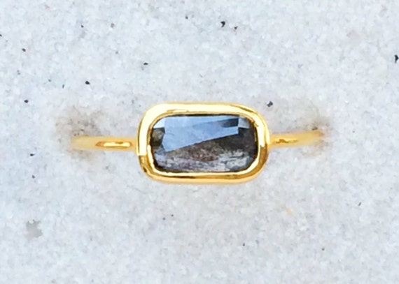 Untreated black diamond and solid 18k gold ring