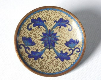 Cloisonne dish, cloisonne flowers dish, Asian decor