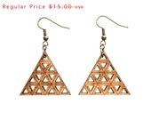 wood jewelry - Bamboo Accumulated Triangle Earrings - 1 Ply.  modern geometric laser cut. eco friendly, ready to ship