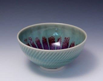 Wheel-thrown Porcelain Bowl with Celadon and Purple Red Glaze and Chattering Decoration by Hsinchuen Lin 林新春