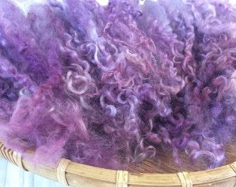 Hand Dyed British Teeswater Wool locks, 86gms for Waldorf Dolls, Art Dolls, Blythe Dolls, Spinning and Felt Making 'Mauve Mist' Colourway